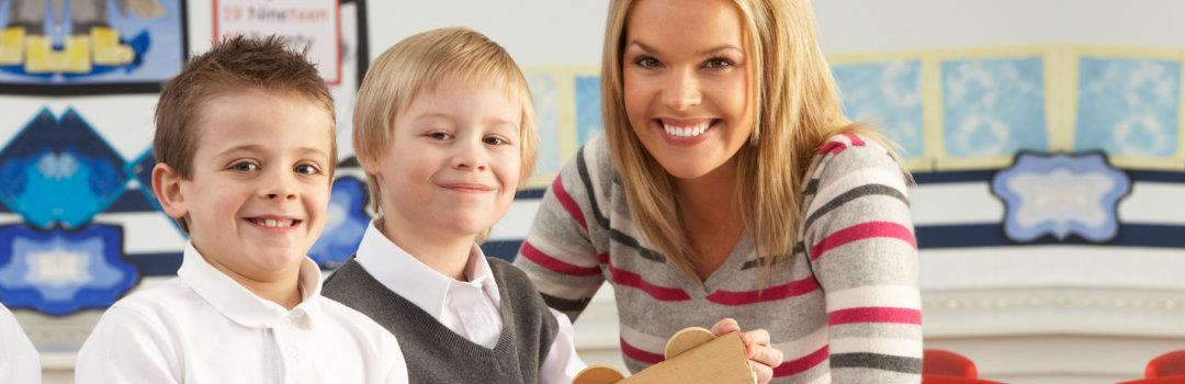 two children and a teacher