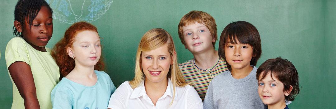 children and a teacher in a classroom